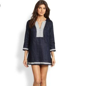 TORY BURCH linen tunic cover up navy embroidered